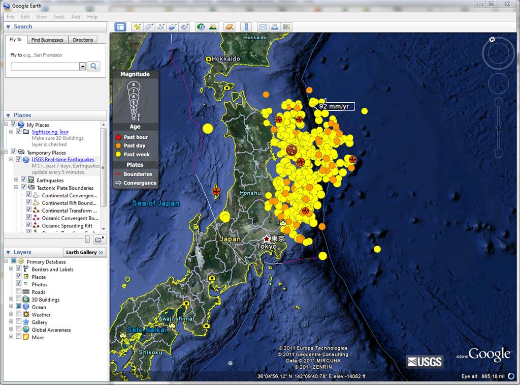 Japan earthquake map visualizationgoogle earth epic data bits image gumiabroncs Gallery