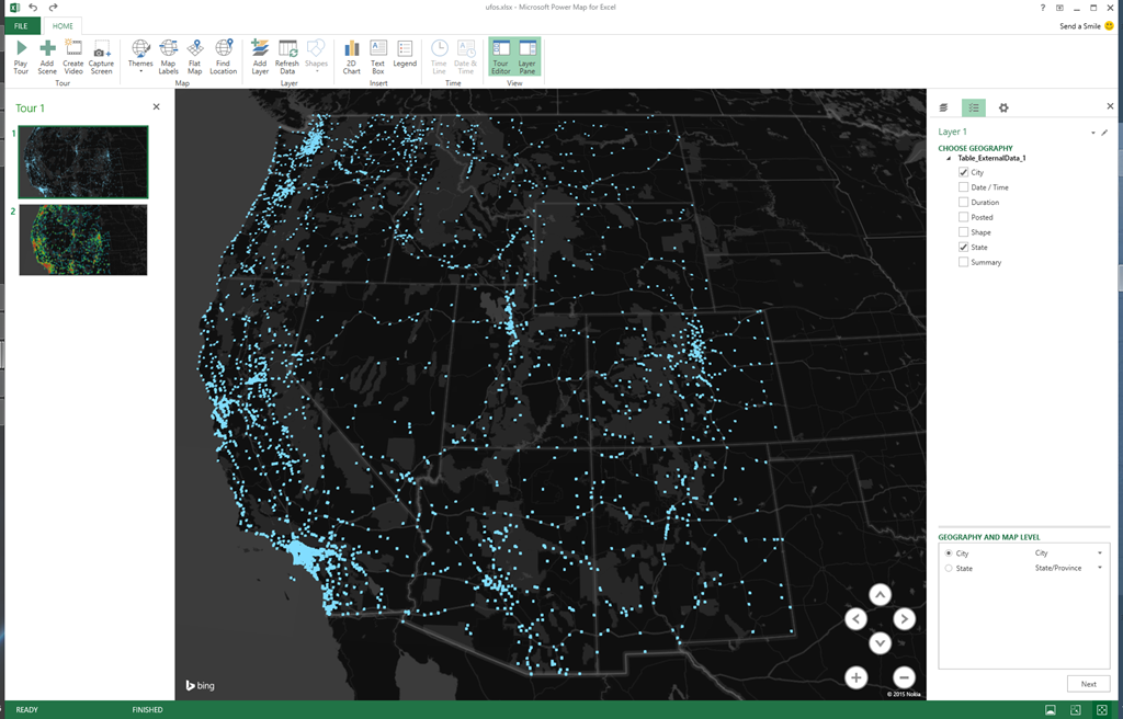 Mapping UFO Sightings In The Western United States With Microsoft - Create us map in excel